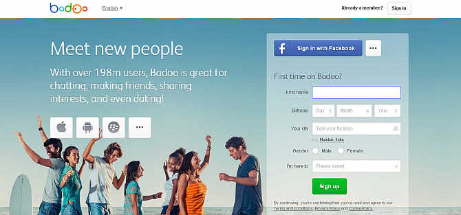 Homepage of Badoo.