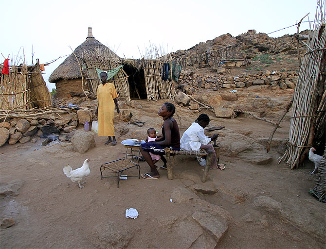 Home of a Nuba tribe family is seen on the side of a mountain in Kadogli town in the South Kordofan state of Sudan.