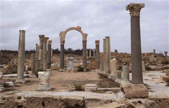Old Roman ruins stand in the ancient archeaological site of Sabratha on Libya's Mediterreanean coast.