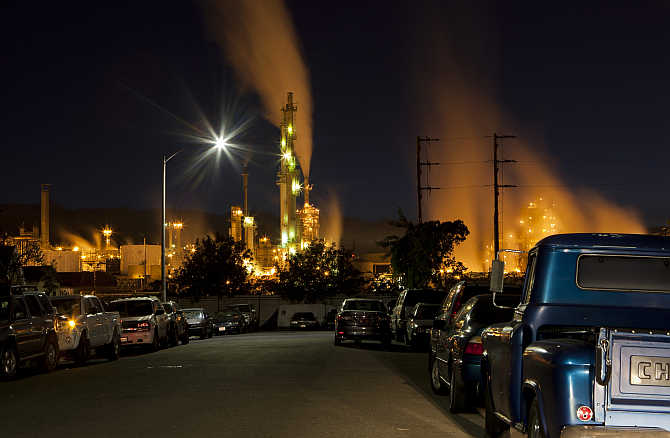 ConocoPhillips oil refinery lights up a neighbourhood in San Pedro, California.