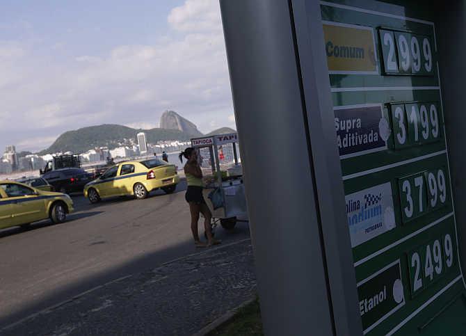 A petrol pump at Copacabana Beach in Rio de Janeiro, Brazil.