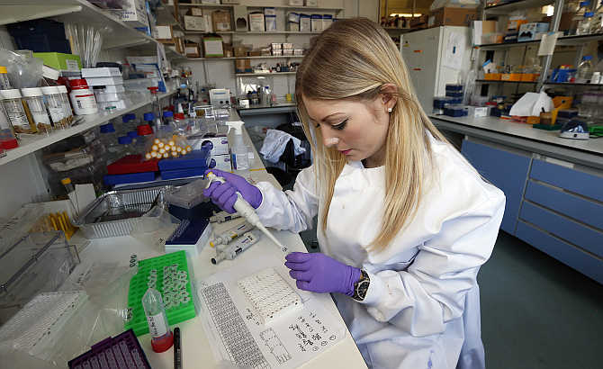Graduate student Katie Bates works in the Nanomedicine Lab at UCL's School of Pharmacy in London, United Kingdom.