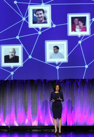 Facebook Chief Operating Officer Sheryl Sandberg delivers a keynote address at Facebook's fMC global event.