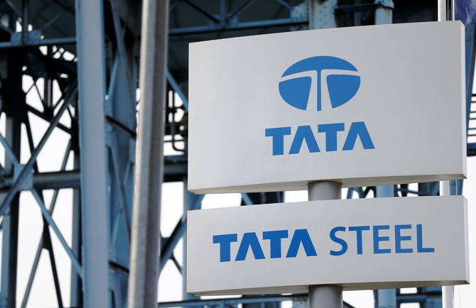 The Tata Steel logo is seen at the Tata Steel rails factory
