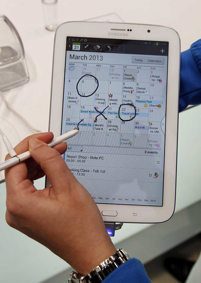 Samsung Galaxy Note 8.0 tablet is pictured during the Mobile World Congress in Barcelona, Spain.