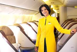 A Jet Airways airhostess