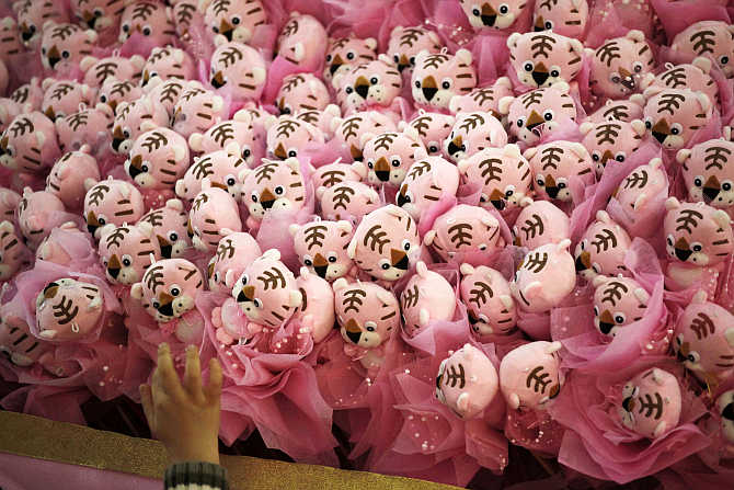 A child touches tiger decorations at a shopping mall in Guangzhou, Guangdong province, China.