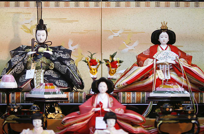 Ornamental 'hina' dolls on display at a shop in Tokyo, Japan.