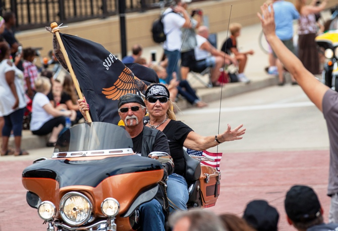 Harley riders participate in the Harley Davidson 110th Anniversary Celebration parade in Wisconsin Avenue, Milwaukee August 31, 2013.