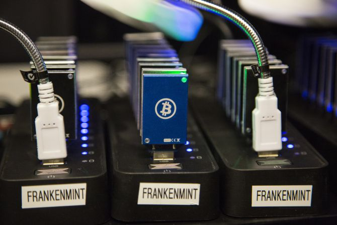 A chain of block erupters used for Bitcoin mining is pictured at the Plug and Play Tech Center in Sunnyvale, California.