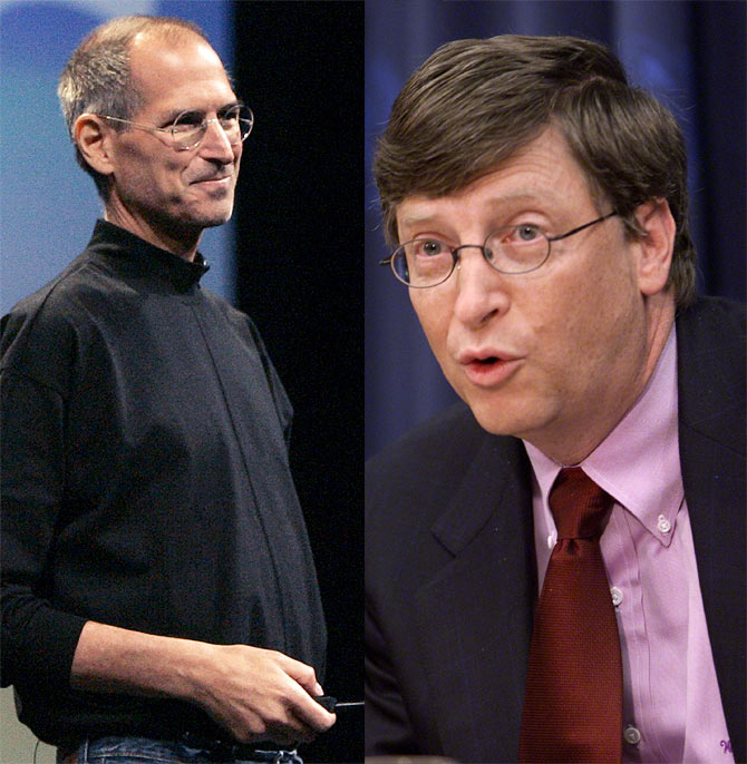 Apple co-founder Steve Jobs (left) and Microsoft co-founder Bill Gates.