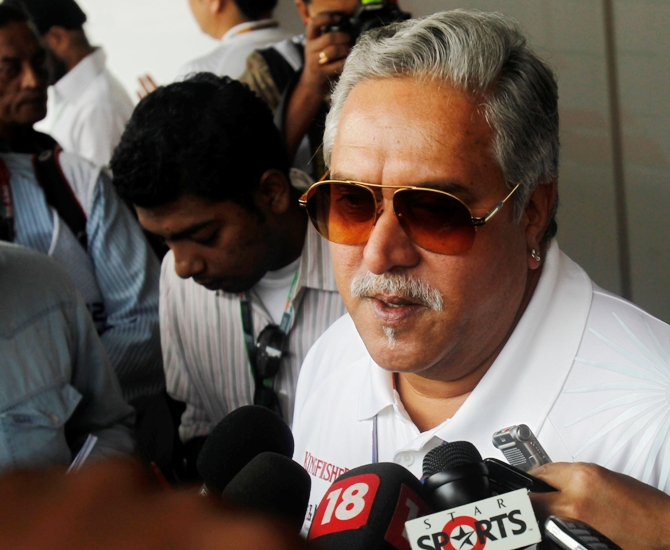 Vijay Mallya talks to the media.