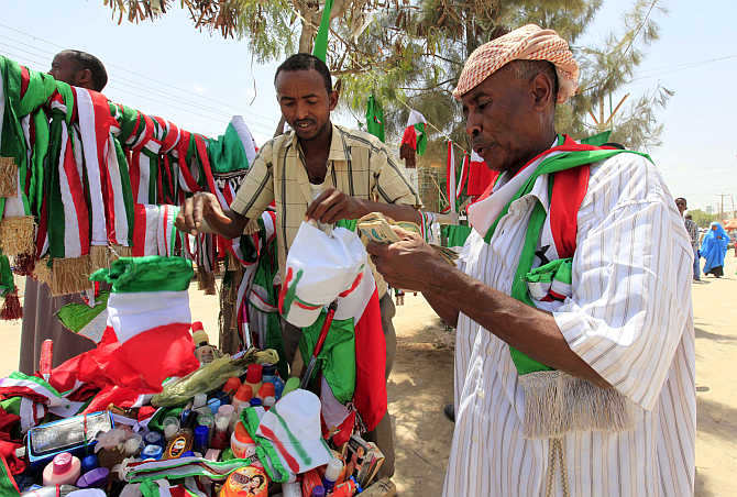 A man buys souvenirs a day before celebrating the 22nd anniversary of the self-declared independence day of the breakaway Somaliland region.