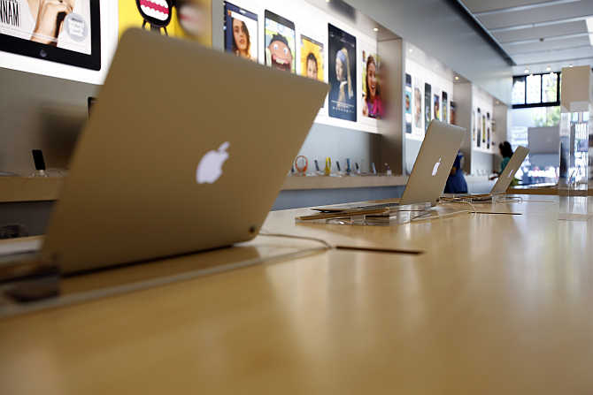 MacBook Air laptops on display at an Apple Store in Pasadena, California.