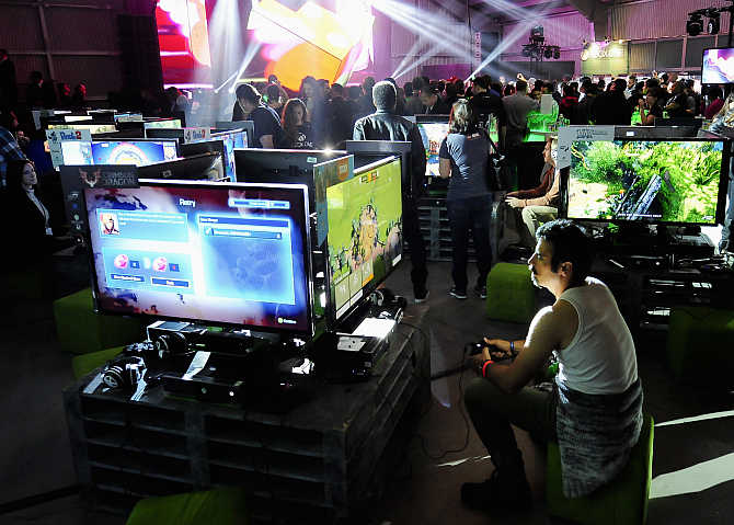 Xbox fans play the latest games in Los Angeles, California.
