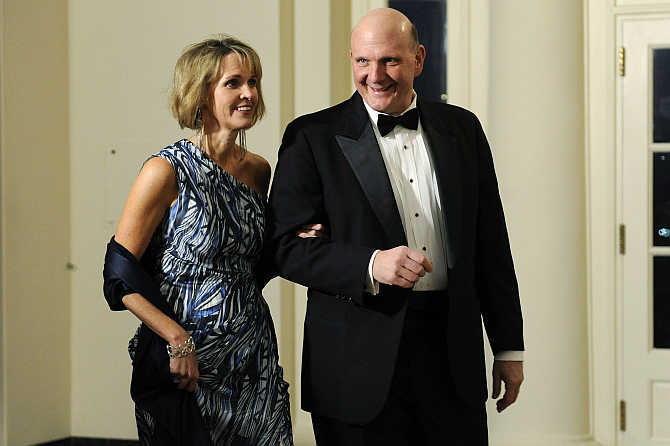 Steve Ballmer with his wife Connie in Washington, DC.