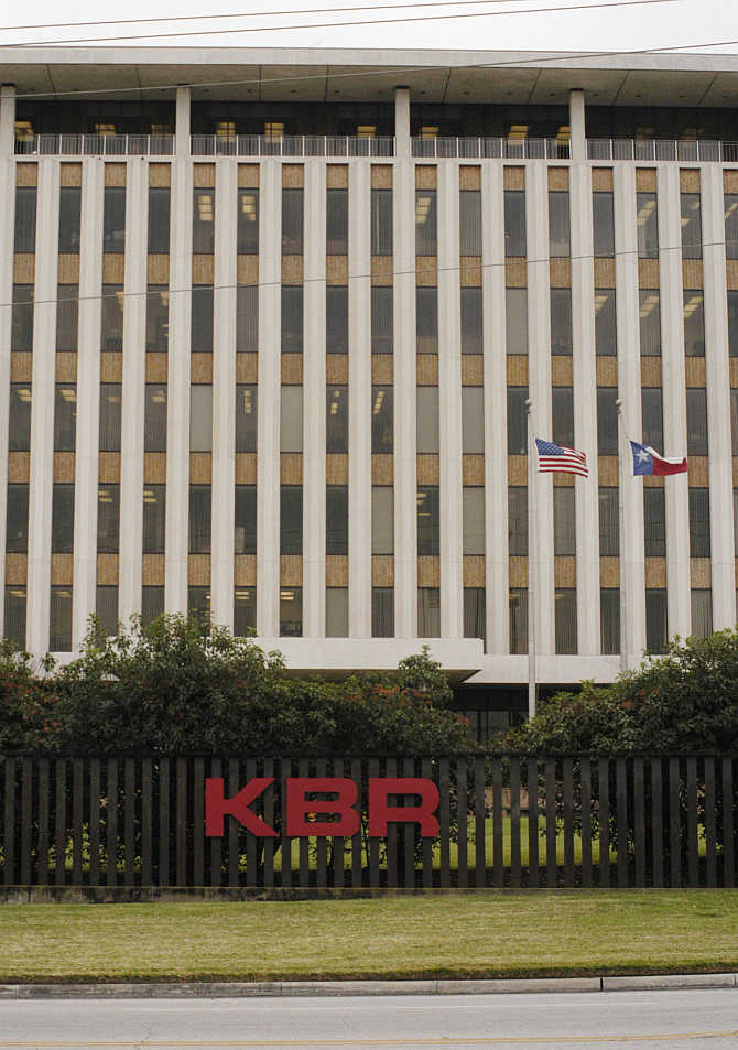 A KBR sign adorns the Halliburton corporate headquarters near downtown Houston, Texas.