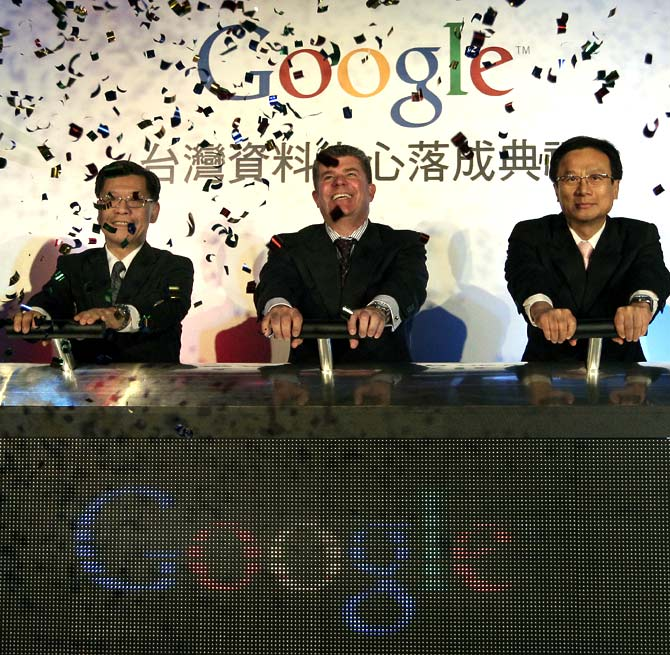 Google's vice president of data centres Joe Kava (C) and Taiwanese government officials take part in the opening ceremony of the Google data centre in Changhua Coastal Industrial Park.