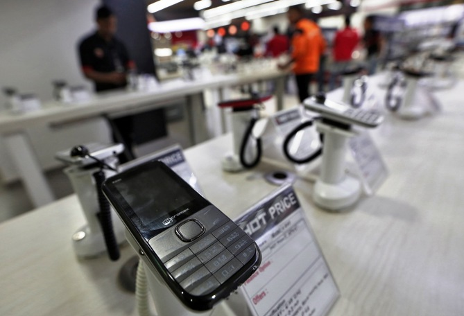 A Micromax mobile phone is kept on display at a showroom in New Delhi.