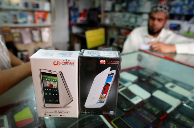 Micromax mobile phones are displayed at a mobile store in Mumbai.