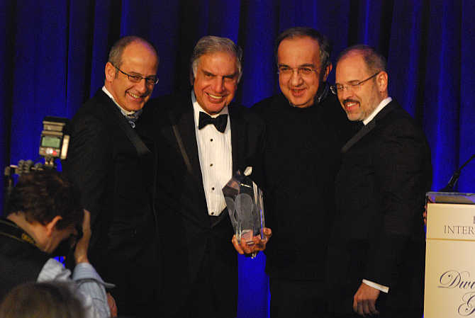 From left to right, Ahmet C Bozer, Ratan Tata, Sergio Marchionne and Peter J Tichansky.