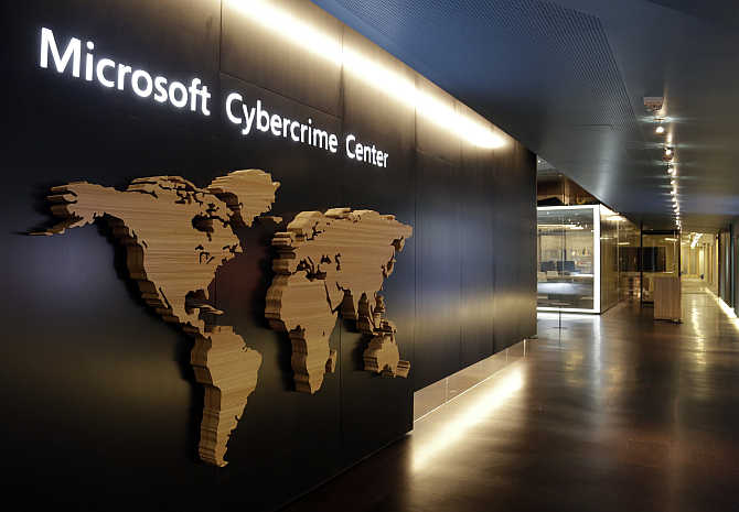 A sign is pictured in the hallway of the Microsoft Cybercrime Center, the headquarters of the Microsoft Digital Crimes Unit, in Redmond, Washington.