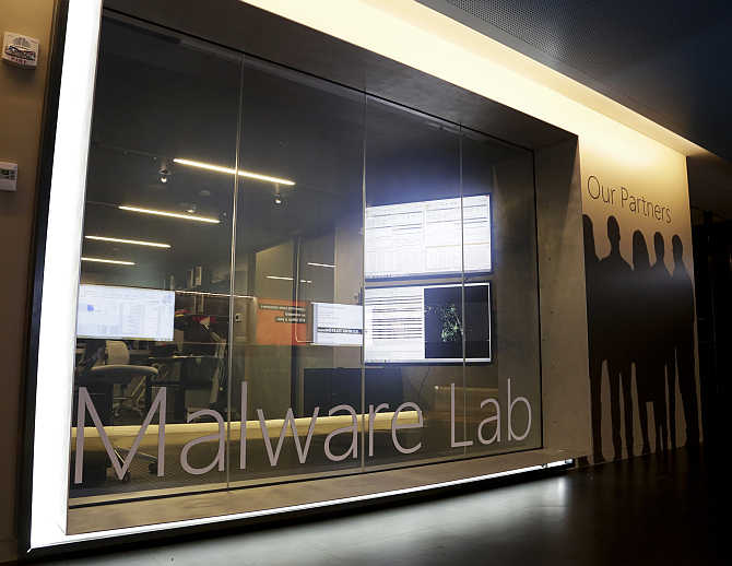 A malware lab is pictured inside the Microsoft Cybercrime Center, the headquarters of the Microsoft Digital Crimes Unit, in Redmond, Washington.