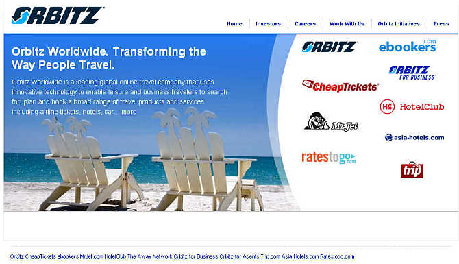 Homepage of Orbitz Worldwide website.