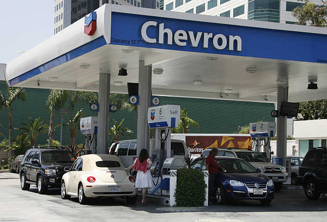 A Chevron petrol pump in Burbank, California.