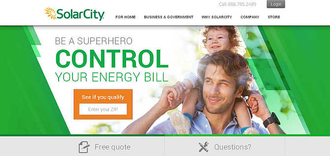 Homepage of SolarCity website.