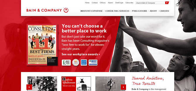 Homepage of Bain & Company website.