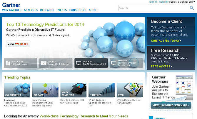 Homepage of Gartner website.