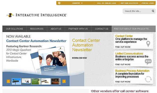 Homepage of Interactive Intelligence website.