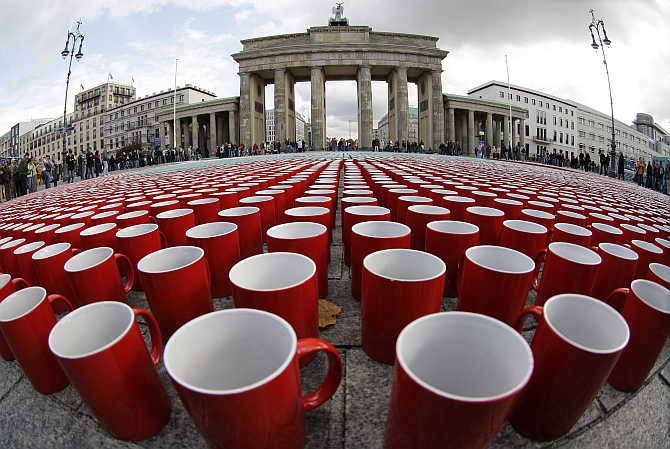 More than 77,000 coffee cups are arranged in a pattern on the ground next to the Brandenburg Gate in Berlin, as part of a promotion for a German television documentary showing what a German citizen consumes on average in his lifetime.
