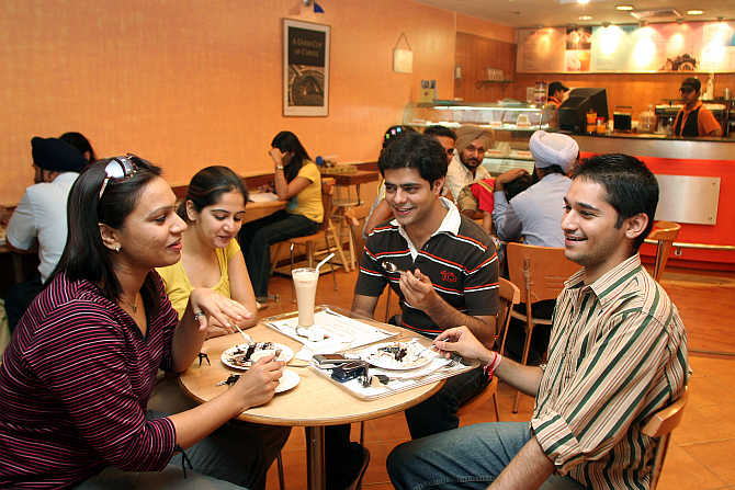 Youngsters at a coffee shop in Chandigarh.