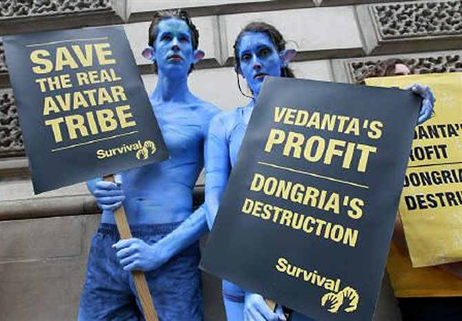 Demonstrators, dressed as characters from the film Avatar, protest against British mining company Vedanta Resources.