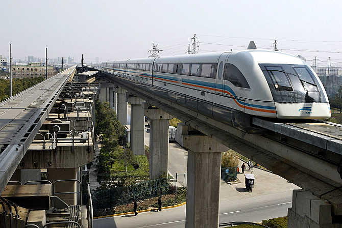 A maglev train drives into a terminal station in Shanghai, China.