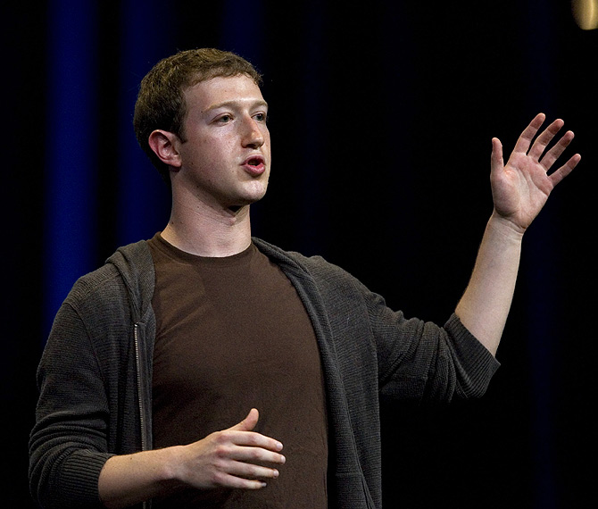 Mark Zuckerberg, founder and chief executive of Facebook, delivers a keynote address at the company's annual conference in San Francisco.