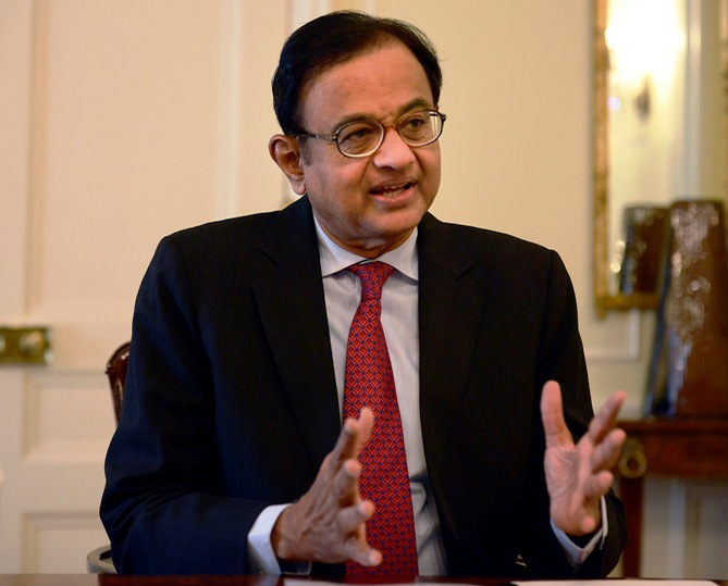 Finance Minister Palaniappan Chidambaram speaks during a news conference in New York.