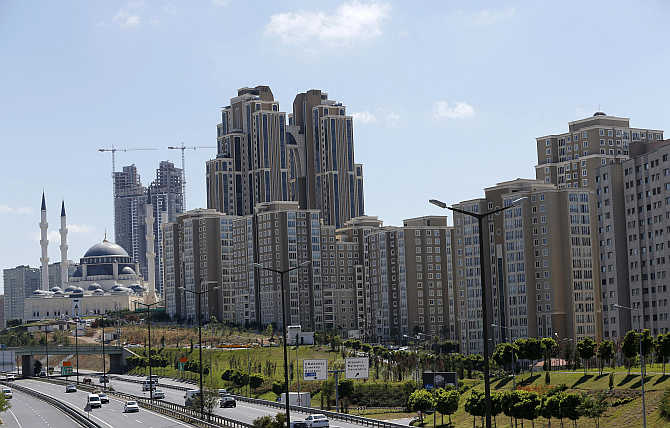 A view of residential towers in Istanbul, Turkey.