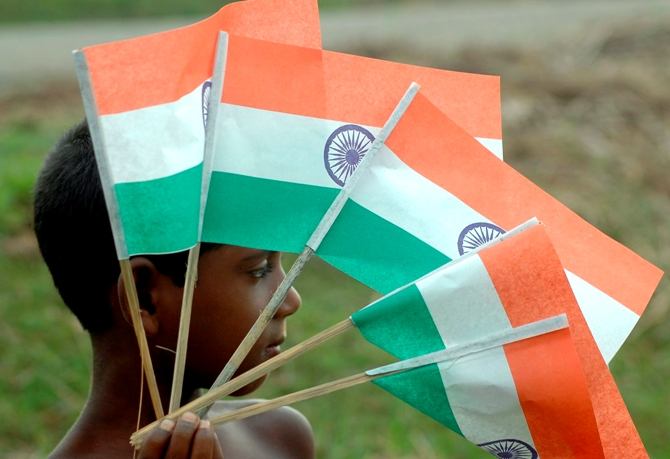 A boy sells Indian national flags in Agartala.