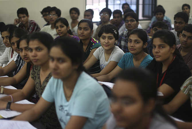 Students attend a coaching class in Kota.