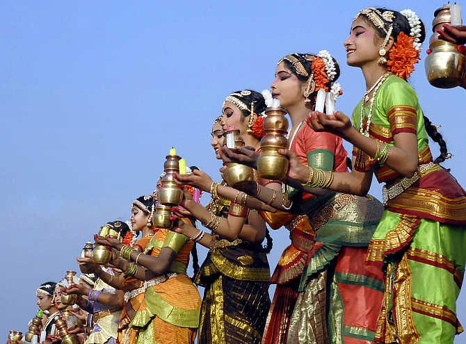Dancers perform in Hyderabad.