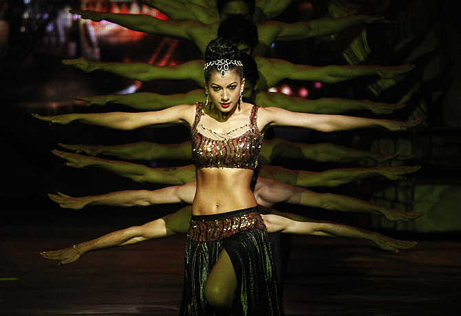 Dancers perform in Gurgaon.
