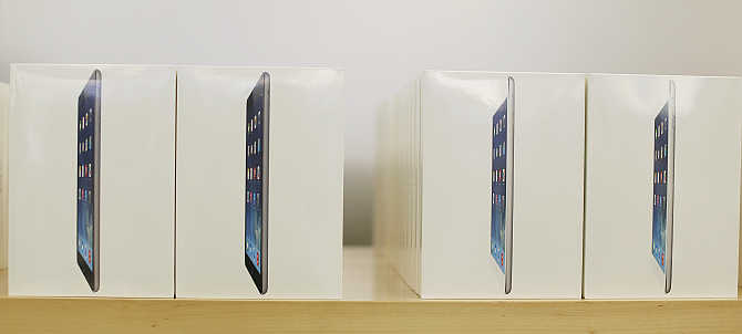 Boxes of iPad Air tablets on display at the Apple store in San Francisco, California.