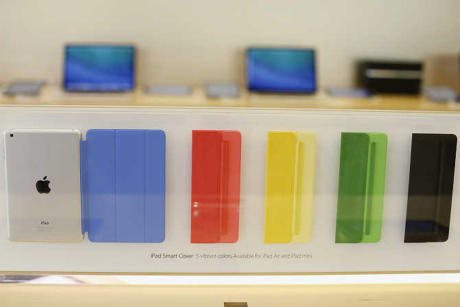 A collection of iPad Smart Covers are seen at the Apple store in San Francisco, California.