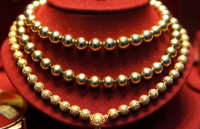 Gold jewellery for sale.