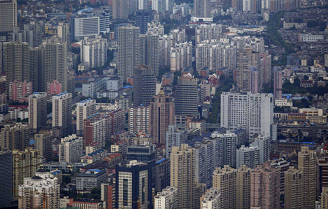 A view of Puxi district in Shanghai.
