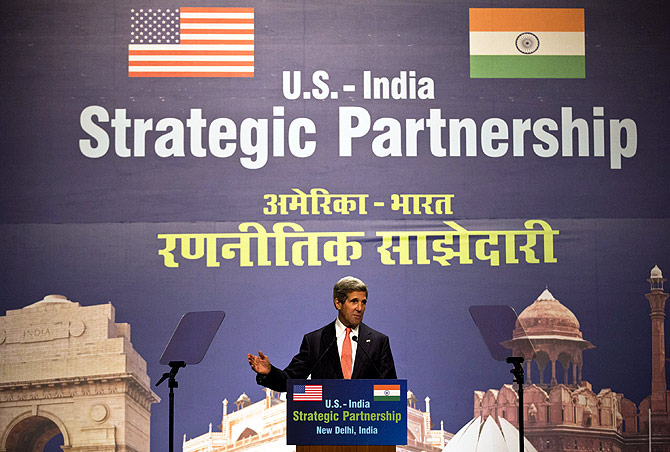 U.S. Secretary of State John Kerry speaks on the U.S.-India strategic partnership in New Delhi.