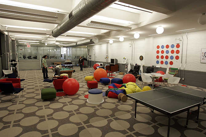 A view of the game room at the New York City offices of Google.